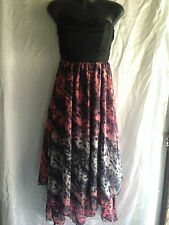 ESQ DESIGN Size 10 Ladies Strapless Shirred Back Zip Asymmetrical Hem Dress