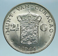 1944 CURACAO Netherlands Kingdom Queen WILHELMINA Silver 2.5 Gulden Coin i83214