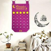 1x Ramadan Mubarak Calendar Felt Countdown 30days Eid Celebration Decor O8G3