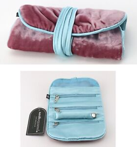 Jewellery roll pink plush velvet Earth Squared travel jewellery pouch pink