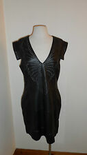 UK 14  Cap Sleeve Soft Black Leather Brianna Brogue Dress by French Connection