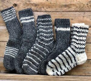 Wool SocksNatural Pure Sheep Women Hand Knitted Cosy Sofa BedSmall SizeUK2.5-4