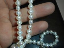 """6mm South Sea Salt Water White Pearl 18"""" NECKLACE Unused quality knotted ster"""
