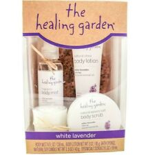 The Healing Garden White Lavender 5 pc Bath & Body Gift Set Soy Candle Mist New