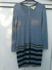 Grey & Yellow CLEMENTS RIBIERO Merino Wool Jumper Dress 14