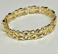 14kt Solid Yellow Gold Handmade Fashion Nugget Bracelet 11 mm 25 grams 7""