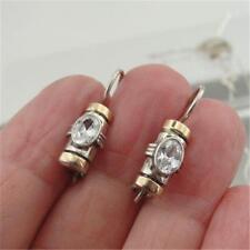 Hadar Designer Fine Handmade Dangle 9k Gold 925 Silver White Zircon Earrings (vs