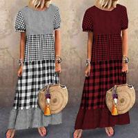 Mode Femme Robe Casual en vrac Manche Courte Vérifier Plaid Plissé Dresse Plus