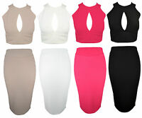 Womens Bodycon Waffle Keyhole Bandage Two Piece Crop Top and Skirt Dress Set