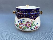 Ancien pot à pommade ? bleu nuit fleurs en porcelaine SADLER ? art pop
