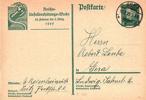 DR-PK126A,Reichs-Unfall-Verh.-Woche1929,portor.+echt gel.,Zeitz-Gera,sauber