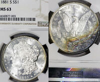 1881-S MS63 Morgan Silver Dollar $1, NGC Graded, Rainbow Toned, Flashy Luster!
