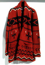 Ralph Lauren 100% Wool Hand Knit Southwestern Indian Shawl Sweater Cardigan RARE