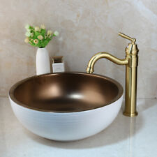 Bathroom Round Ceramic Basin Sink Combo Brushed Gold Mixer Faucet Tap Drain Set