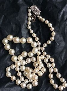 Antique 18ct White gold diamond clasp cultured Akoya pearl necklace Art Deco
