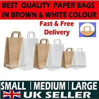BROWN & WHITE KRAFT PAPER SOS FOOD BAGS CARRIER WITH HANDLES PARTY TAKEAWAY ETC