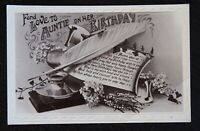 Vintage B/W Postcard - FOND LOVE TO AUNTIE ON HER BIRTHDAY - Written/unposted
