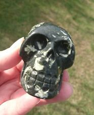 Rare Chinese Writing Stone Hand Carved Crystal Skull
