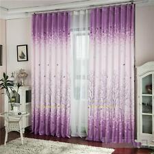 Gardinen Fenster Vorhang blickdicht Türvorhang Dekoschal Blumen Lila 200x100cm