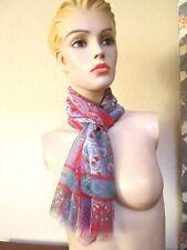 Nice ETRO MILANO silk scarf Paisley with red  trim Italy 53 x 17