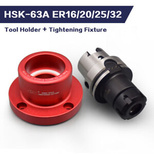 HSK63A-ER16/20/25/32 1 PCS Tool Holder + 1 PCS Tightening Fixture Tool Lock Seat