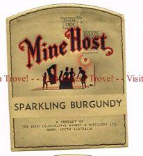 Unused 1940s AUSTRALIA Beri MINE HOST SPARKLING BURGUNDY Wine Label