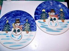 Tabletops Unlimited Holiday Season Snowman Pattern Dinner Plates  2pc