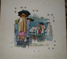 "James Hill Canadian original Illustration / For Ad "" Von Tramp Family"" Gouache"