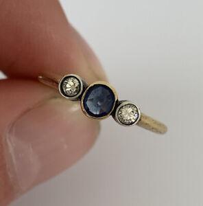 18ct Gold Sapphire & Diamond 3 Stone Period Art Deco Ring, 18k 750 WRW