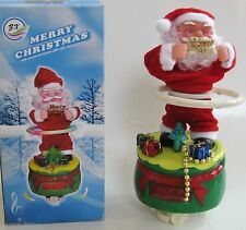 "NEW HULAHOOPING+SPINNING SANTA CLAUS MUSICAL ""MERRY CHRISTMAS"" FIGURINE+BOX"