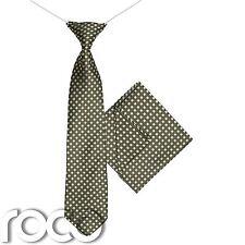 garçons Hashtag cravate & MOUCHOIR Ensemble, olive élastique, Poche Carré