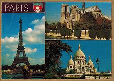 Cpsm / Cpm Paris - la Tour Eiffel Notre Dame Sacré Coeur wn0411
