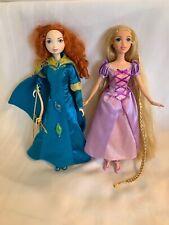 Disney Barbie Dolls Brave Merida Bow And Arrow & Tangled Rapunzel