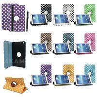 "PU Leather 360 Rotating Folio Polka Dot Case Cover Samsung Galaxy Tab 3 8"" T310"