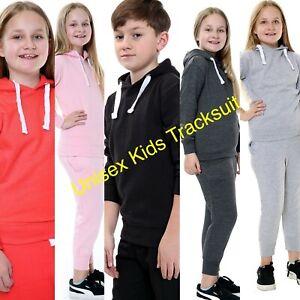 Boys Girls Plain Tracksuit Hooded Top Jogging Bottom School Jog Suit Full Set