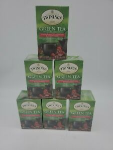 6 Twinings POMEGRANATE RASPBERRY STRAWBERRY Green Tea 120 Tea Bags Total 02/2023