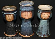 3 Handcrafted Art Stoneware Face Goblet Chalise Glazed Stoneware Artist Signed