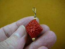 J10) RED CINNABAR Pendant necklace carved wood lacquer flower bead loop jewelry