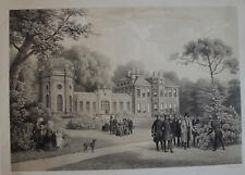 MAISON D'ORLEANS À TWICKENHAM, LITHOGRAPHIE 1846, ROI LOUIS PHILIPPE, BICHEBOIS