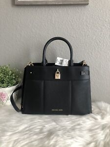 MICHAEL KORS GRAMERCY NICOLE LARGE SATCHEL SHOULDER BAG BLACK LEATHER GOLD