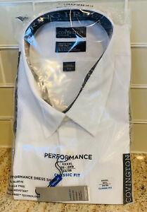 COVINGTON Men's Classic Fit Dress Shirt Size XXXXL 4XL 34-35 Long Sleeve White