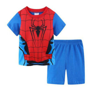 2Pcs//Set Kids Boy Spiderman Short /& Long Pj Sleepwear Pajamas Matching Sets 1-8Y