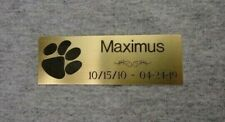 1x3 Custom Engraved Dog Memorial, Brass Plate Plaque, Paw Print, Pet