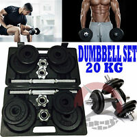 DUMBBELL GYM CAST IRON FREE WEIGHTS BICEPS GYM HOME WORKOUT TRAINING 20KG SET