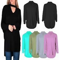 New Ladies Women's Choker V neck Oversized Baggy Batwing Top Plus Size UK 8-26