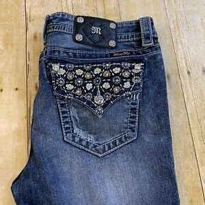 Miss Me Plus Size Womens Thick Stitch Jeans Mid Rise Boot Rhinestones 32 (35X32)