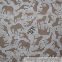 BonEful Fabric FQ Cotton Quilt Brown Tan VTG African Zebra Giraffe Lion Elephant