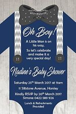 Boy Girl Romper Outfit Baby Shower Floral Bow Tie Timber Invite Invitation Party