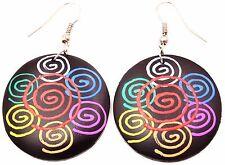 Boucles d'oreilles en Bois Ethnique Artisanal Femme  wooden earrings spirale