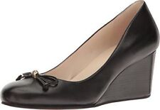 """Cole Haan Womens Elsie Black Leather Wedge Pump Heel Round Toes Bow 7 B 2"""" Shoes"""